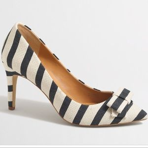 J. Crew factory Isabelle Navy striped bow pumps 7